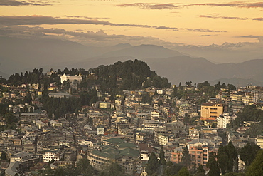 View of city center, Darjeeling, West Bengal, India, Asia
