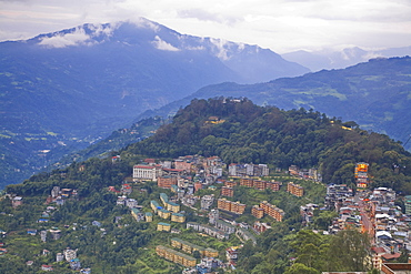 View of lower city and Damovar Ropeway building, Gangtok, Sikkim, India, Asia