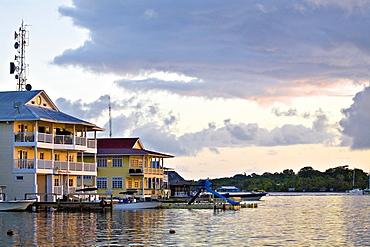 Waterfront hotels, Colon Island (Isla Colon), Bocas del Toro Province, Panama, Central America