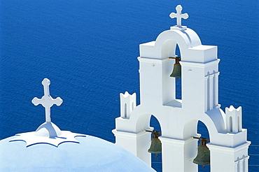 Blue-domed church and belltower, Firostnhani, Santorini, Greece