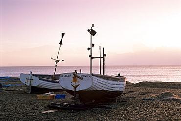 Boats and beach at dawn, Aldeburgh, Suffolk, England, United Kingdom, Europe