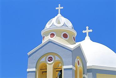 Colorful church, Firostephani, Santorini, Cyclades Islands, Greece, Europe