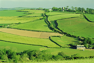 Fields and farms near Fowey, Cornwall, England, UK