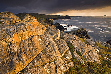 Stormy evening view along the rugged Atlantic coast near Carloway, Isle of Lewis, Outer Hebrides, Scotland, United Kingdom, Europe