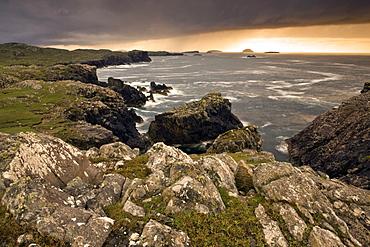Stormy evening view along coastline near Carloway, Isle of Lewis, Outer Hebrides, Scotland, United Kingdom, Europe