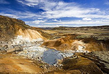 Dramatic volcanic landscape with mudpools in geothermal area on Reykjanes Peninsula, near Keflavik, Iceland, Polar Regions