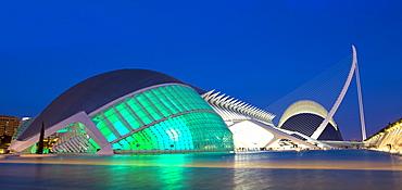 L'Hemisferic, El Museu de les Ciencies Principe Filepe and L'Agora illuminated at night at the City of Arts and Sciences (Ciudad de las Artes y las Ciencias), Valencia, Spain, Europe
