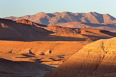 View of the sandstone mountains near Ait Benhaddou, Morocco, North Africa, Africa