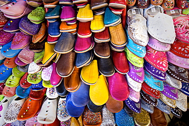 Dozens of colourful traditional slippers in the souk off the Djemaa el Fna, Marrakech, Morocco, North Africa, Africa
