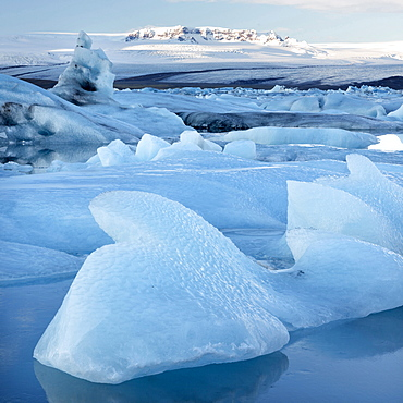 View over Jokulsarlon, a glacial lagoon at the head of the Breidamerkurjokull Glacier, towards icebergs and snow-capped mountains, with reflections in the calm water of the lagoon on a winter's afternoon, on the edge of the Vatnajokull National Park, South Iceland, Iceland, Polar Regions