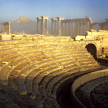 The Amphitheatre in dawn light (Roman, dating from C1st AD), at the ancient Graeco-Roman city of Palmyra, Syria, Middle East *** Local Caption ***