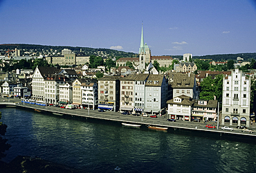 City view across the Limmat River, Zurich, Switzerland, Europe