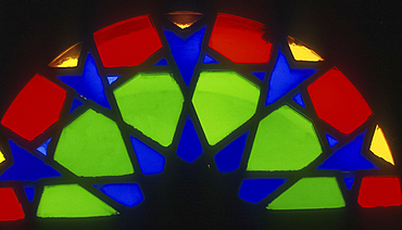 Stained glass fanlight in old house, Manama, Bahrain *** Local Caption ***