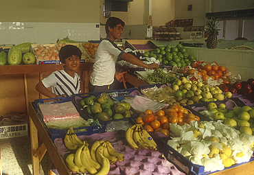 Young fruit sellers, Central Market, Manama, Bahrain *** Local Caption ***