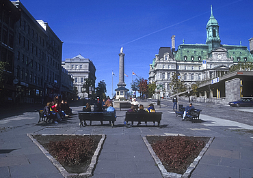 Nelson Column and City Hall, Old Montreal, Quebec, Canada *** Local Caption ***