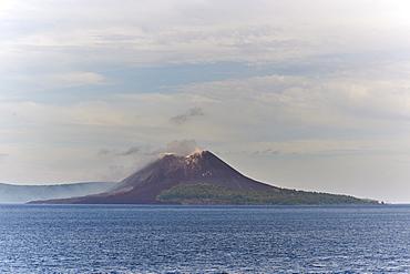 The new caldera of Krakatoa volcano, Indonesia, Southeast Asia, Asia