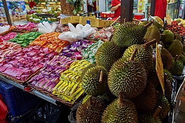 Durian fruit for sale in Chinatown, Singapore, Southeast Asia, Asia