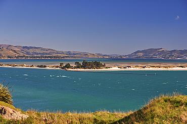Aramanoa salt marsh viewed from Harington Point, Otago Peninsula, Otago, South Island, New Zealand, Pacific