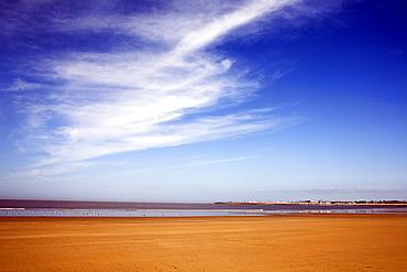 Middle of Newton beach, Porthcawl on a sunny spring morning with big blue sky, Porthcawl, Mid-Glamorgan, Wales, United Kingdom, Europe