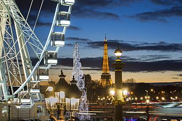 Poue de Paris, Place de la Concorde and Eiffel Tower, Paris, France, Europe