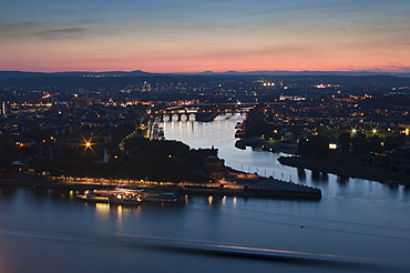 Mosel and Rhine rivers converge at Deutsches Eck, Koblenz, Rhineland-Palatinate, Germany, Europe