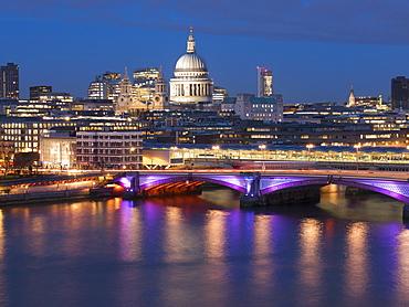 St. Paul's Cathedral and Blackfriars Bridge at dusk, London, England, United Kingdom, Europe