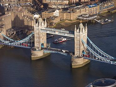 Aerial of Tower Bridge, London, England, United Kingdom, Europe