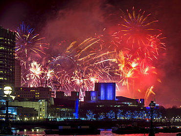 Fireworks over the South Bank, London, England, united Kingdom, Europe