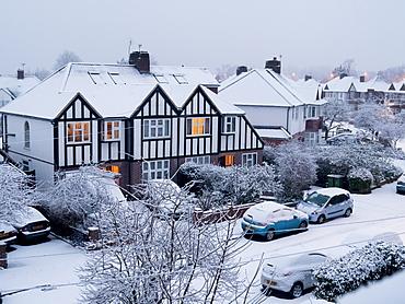 Suburban houses in winter, Surrey, England, United Kingdom, Europe