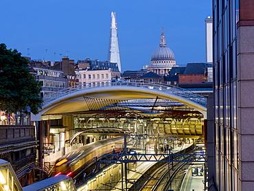 Farringdon Station dusk with The Shard and St. Pauls, London, England, United Kingdom, Europe