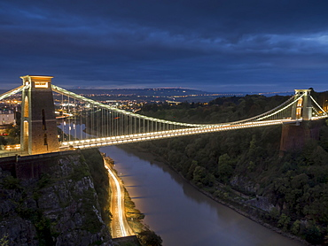 Clifton Suspension Bridge at night, Bristol, England, United Kingdom, Europe