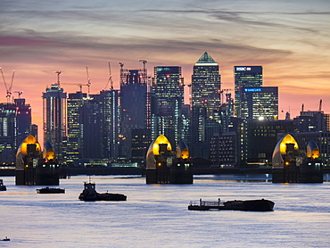 Canary Wharf from at Woolwich dusk, London, England, United Kingdom, Europe