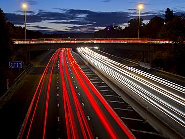 M3 motorway light trails, Surrey, England, United Kingdom, Europe