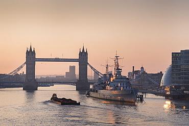 Tower Bridge at sunrise and River Thames, London, England, United Kingdom, Europe