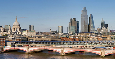 Panoramic view of the City of London with Blackfriars Bridge and St. Paul's Cathedral, London, England, United Kingdom, Europe