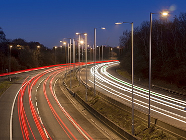 Motorway A3 dusk, Greater London, England, United Kingdom, Europe