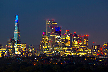 London cityscape from Crystal Palace at dusk