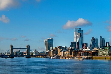 City skyline with Tower Bridge from Bermondsey, London, England, United Kingdom, Europe