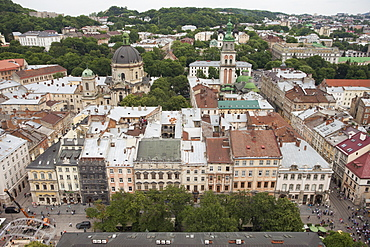 View of old town from top of City Hall Tower, Lviv, Ukraine, Europe