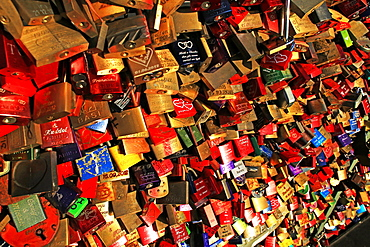 Love Padlocks on Hohenzollern Bridge, Cologne, North Rhine-Westphalia, Germany, Europe