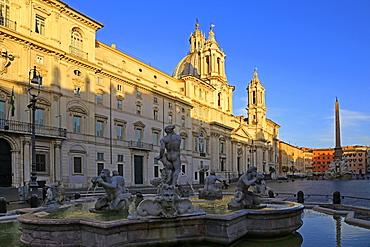Fontana del Nettuno and Fontana dei Quattro Fiumi in Piazza Navona, Rome, Lazio, Italy, Europe