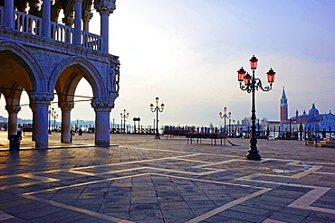 Doge's Palace and Piazzetta against San Giorgio Maggiore in early morning light, Venice, UNESCO World Heritage Site, Veneto, Italy, Europe