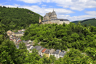 Vianden Castle above the Town of Vianden on Our River, Canton of Vianden, Grand Duchy of Luxembourg, Europe