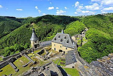 Bourscheid Castle in the Valley of Sauer River, Canton of Diekirch, Grand Duchy of Luxembourg, Europe