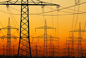 Pylons and power lines in morning light, Germany, Europe