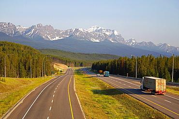 Transcanada Highway near Lake Louise, Banff National Park, Rocky Mountains, Alberta, Canada, North America