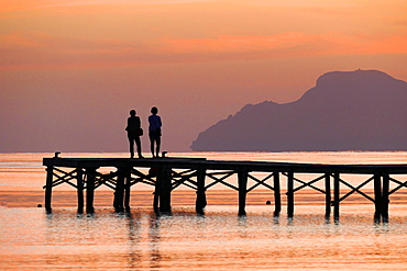 Morning mood at Landing stage, Playa Muro near Alcudia, Majorca, Balearic Islands, Spain, Mediterranean, Europe