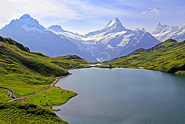 Lake Bachalpsee at First and Bernese Alps, Grindelwald, Bernese Oberland, Switzerland, Europe
