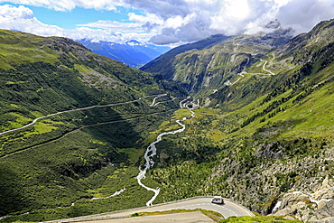 Gletsch with Rhone River, Grimsel and Furka Pass Roads, Canton of Valais, Switzerland, Europe