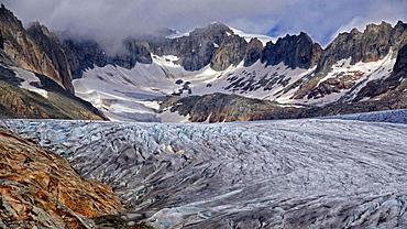 Rhone Glacier at Furka Pass, Canton of Valais, Swiss Alps, Switzerland, Europe